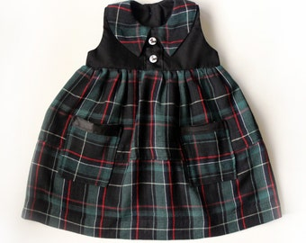 Baby Girl Toddler Plaid Christmas Dress Vintage Inspired Handmade - Ready to Ship