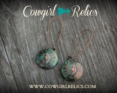 SALE--Rustic Western Earrings, Western Chic, Copper Concho, Southwest, Turquoise Patina