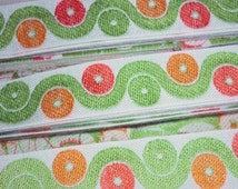 Unused Vintage Retro Woven Braid Ribbon Trimming, 1960s or 1970s.  Green and Orange, Circles and Waves