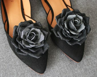 Black denim Rose Flower Shoe Clips