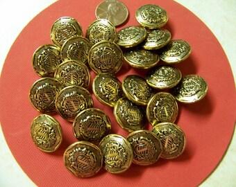 """Set of 24 Vintage Gold Metal Shank Buttons 3/4"""""""