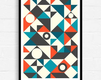Geometric Art, Mid Century Modern, Abstract Art, Blue And Red, Abstract Wall Art, Art Print, Contemporary Art, A3 Print, Home Decor