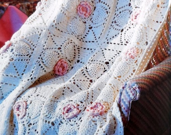 Crochet Afghan Pattern, Adult Throw, Lap Blanket, PINEAPPLE ROSE Pattern