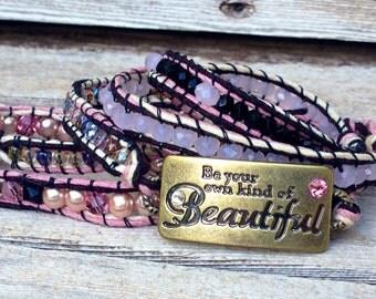 Beautiful Hemp, Crystals, Pearls Bracelet