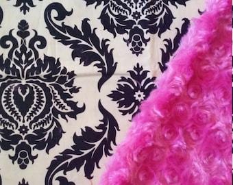 Minky Baby Blanket Damask baby blanket damask blanket stroller blanket carseat blanket Last One