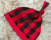 Tie Knot Hat, Buffalo Plaid hat, Children's hat, Red and Black Check Plaid, Baby Boy Christmas, Lumberjack Birthday, Baby Shower Gift, Prop