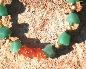 Aventurine, Jade, Amber and Copper Bracelet, OOAK, Gifts for women, Aventurine Faceted Nuggets, Jade Heishi