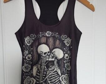 Skeleton tank top. Immortal lovers tank top. Racer back top. Black. Purple