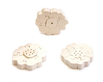 Three wooden flowers puzzles. Clean polished wood puzzle. Ready to ship