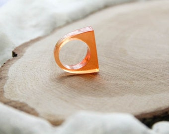 Orange Sun Geometric Resin Ring, Epoxy Ring, Transparent Resin Jewelry, Modern Materials, Bold Stacking Ring, Gift For Her, Gift For Sister