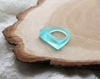 Matt Mint Resin Ring, Geometric Resin Ring, Light Green Resin Ring, Transparent Resin Ring, Epoxy Ring, Gift For Her, For Girlfriend