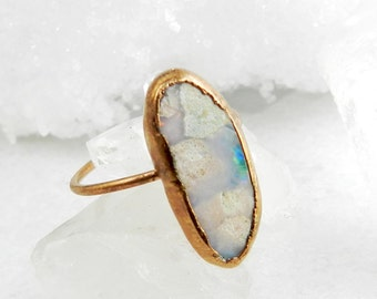 opal ring, boulder opal, rose gold, rose gold ring, stacking ring, stackable ring, fire opal, gift for her, size 6