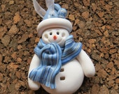 Hand-Sculpted Polymer Clay Snowman Ornament, Blue-Grey Stripes