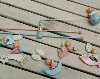 Vintage  Irmi Nursery Crib Mobile -- Angels, Stars, Clouds and Moons -- Pink and Blue, Baby Room Decor, Shower Decoration