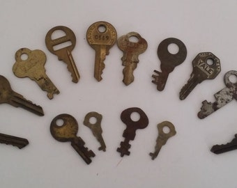 Vintage Lot of 14 Small Brass & Silver Keys, All Different Shapes and Makers, 1 to 1.5 inches, Great for Crafts, Jewelry, Decor, Assemblage