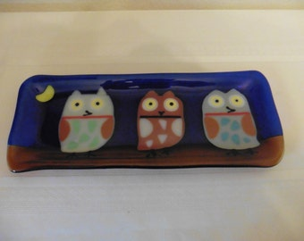 Dark Blue Rectangle Plate with Owls