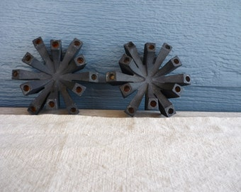 Set of 2 Vintage Cast Iron Taper Candle Holders, Mid Century Decor