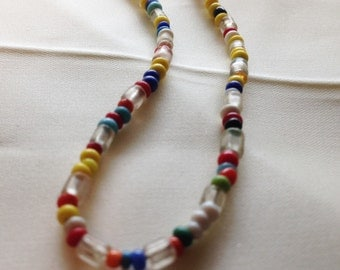Beaded glass hippie necklace from the 1960's.
