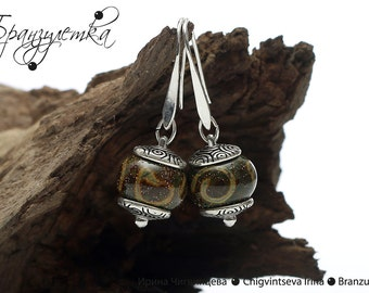 1001 Nights - Earrings lampwork beads Blue olive green cap and silver plated hooks