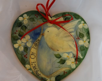 Peace On Earth White Dove Hand Painted Wooden Ornament
