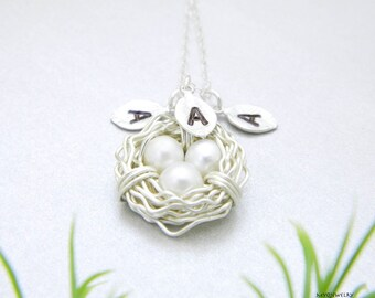 Bird Nest Necklace, Personalized Mother Necklace, Sister Jewelry, Gift for mothers, Family Necklace, Mom gift