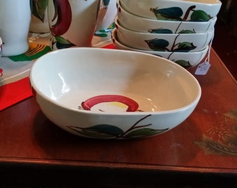 Purinton Pottery Larger Oval Serving Bowl Apple Design Hand Painted - Made in USA