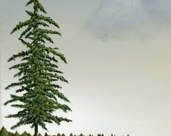 Wall Art, Tree Art, Home Decor, Evergreen Trees, Print, Painting. Free Shipping in the US!