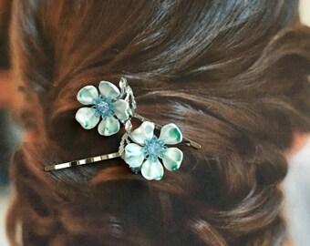 Bridal Blue Lisner Decorative Hair Pins 1950 1960 Vintage Dogwood Flower Celluloid Hairpins Bobby Woodland Goddess