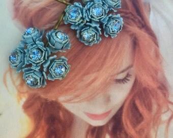 Bridal Blue Rose Decorative Hair Pins 1940's Rhinestone Hairpins Bobby Pins