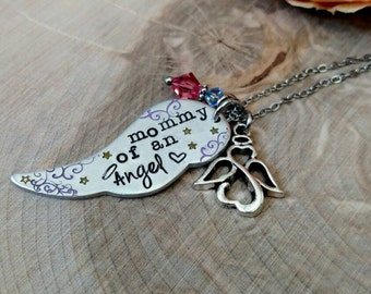 Mommy of an angel necklace, infant loss necklace, miscarriage necklace, memorial necklace, child loss necklace, baby loss necklace
