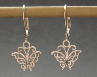 Rose gold Butterfly earring, solid 14k Rose gold butterfly leverback earrings, recycled gold made in USA