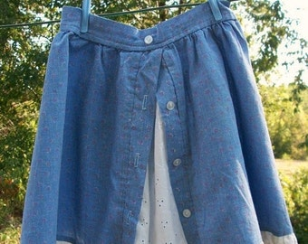 ON SALE Vintage Little Girls Skirt light weight fabric faded denim blue with floral and Eyelet faux slip Size 4T