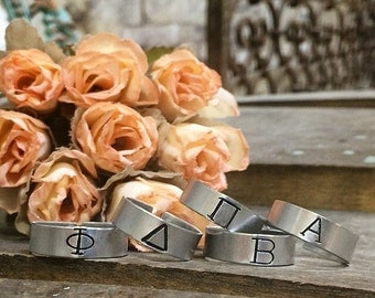 Custom Aluminum Ring - Hand Stamped Band Ring - Adjustable - Greek Letter Ring - Sorority - Made in the USA