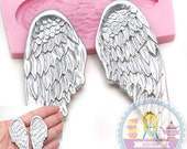 Steam Punk Big Angel Wings Mold Flexible Silicone Mold Cake Topping Cookie decorating Scrapbooking Mould Food Safe 413L* BEST QUALITY