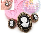Victorian Lady Cameo Mold Set Silicone 771m Cupcake Topper Fondant Gumpaste Polymer Clay fimo Cookie Chocolate Flexible Mold BEST QUALITY
