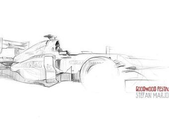 Mercedes F1 Car - Original A3 Pencil Sketch