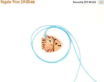 Fish necklace , ceramic pendant  fish, fish art, summer, ceramic fish