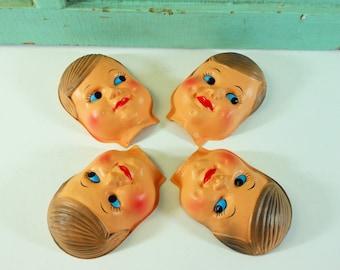 Vintage Plastic Boy Doll Faces Four Half Face Masks Little Boy Doll