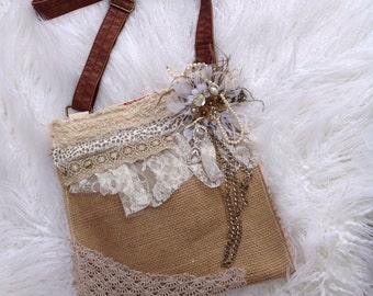 Shabby gypsy lace messenger crossbody