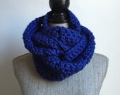 Bulky Double Wrap Cowl in Cobalt Blue