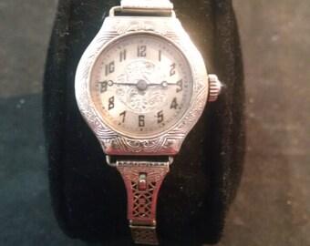 Ladies, 14K, White, Gold, Filled, Filigree, Vintage, Watch