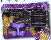 Masquerade Invitation, Mardi Gras Party, Masquerade Party, Masquerade Ball Invites, Mardi Gras Birthday, Mardi Gras Invitations, - C13
