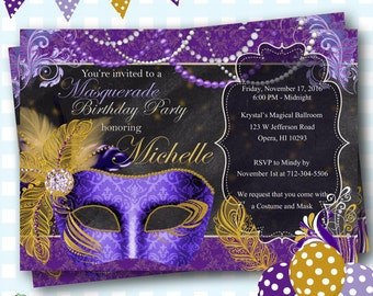 Masquerade Invitation, Mardi Gras Party, Masquerade Party, Masquerade Ball Invites, Mardi Gras Birthday, Mardi Gras Invitations, - C13