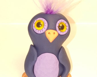 One of a kind polymer clay owl owlette