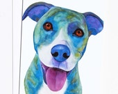 Watercolor Dog Card Blank Greeting Card Set With Envelopes Dog Lover Card Blue Dog Art Watercolor Card All Occasion Card Thank You Card