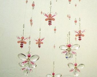 Nursery Idea Crystal Baby Mobile Swarovski Crystal Suncatcher Pink Butterfly Mobile Hanging Fairy Mobile Baby Girl Mobile Girl's Room Decor