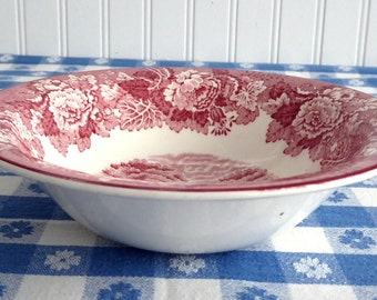 Soup Bowl English Scenery Red Transferware Woods Cereal Bowl Older England  1950s Ironstone