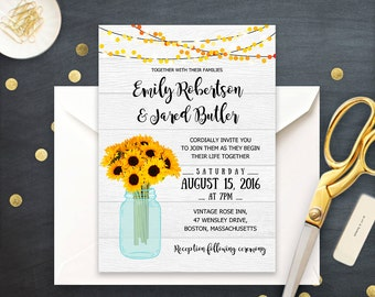Wedding Invitation Printable Rustic Sunflowers & Mason Jar Invitations Template PDF Grey Wood Сountry Wedding Invitation INSTANT DOWNLOAD