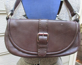 Calvin Klein brown leather flap front purse bag  clutch magnetic closure with strap