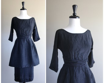 Perfectly Tailored Stunning Black Vintage 1950s Wiggle Dress w/ Flare Overskirt / Classic New Look